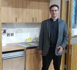 Patrick with new kitchen