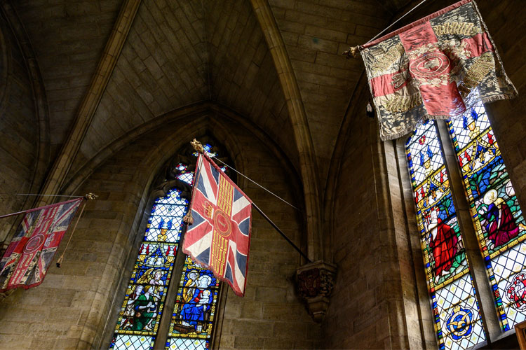 Military flags in St Saviour's