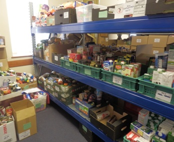 Cromer foodbank shelves 348