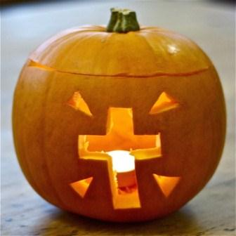 Pumpkin with cross carving