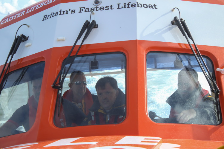 Bishop Graham on lifeboat 750A